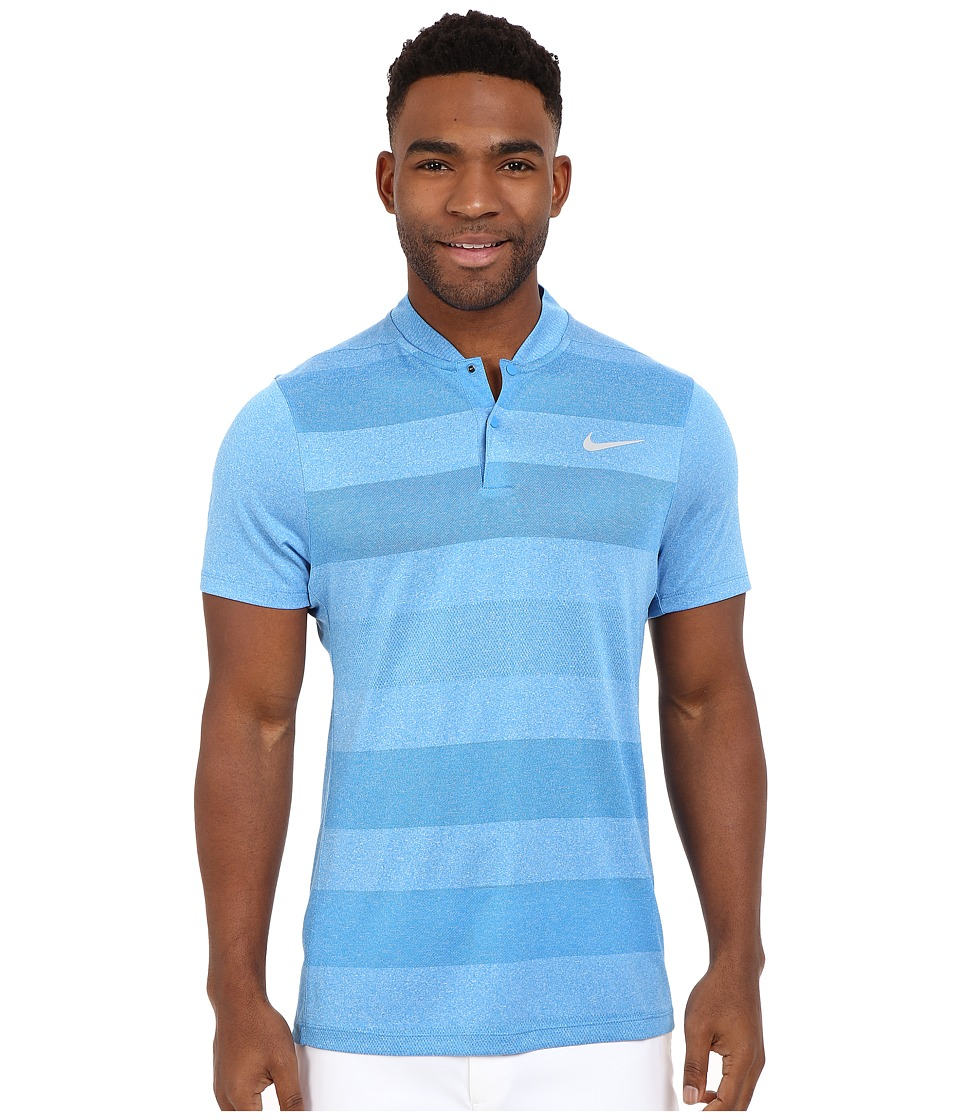 Nike Golf - MM Fly Blade Strip Polo (Photo Blue/Reflective Silver) Men's Short Sleeve Pullover