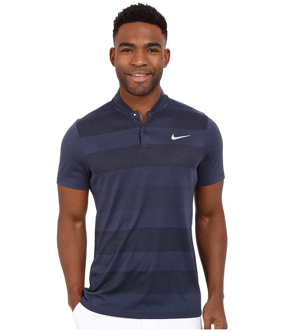 Nike Golf - MM Fly Blade Strip Polo (Midnight Navy/Reflective Silver) Men's Short Sleeve Pullover