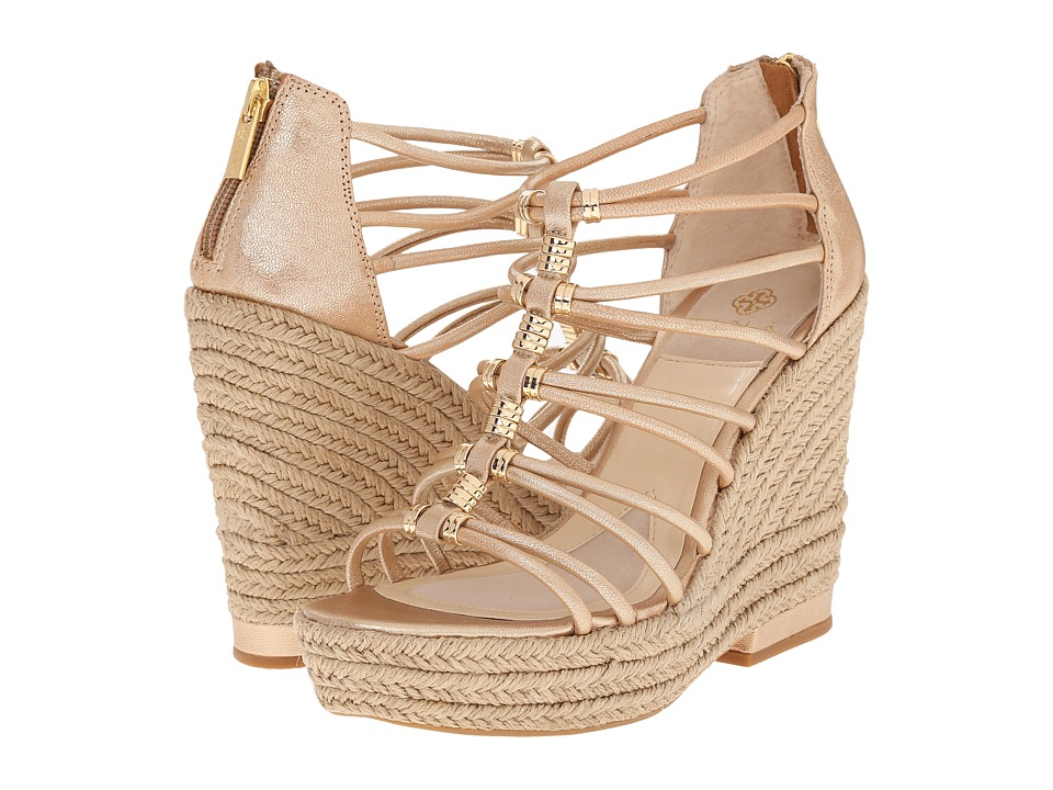 Isola - Yara (Gold Grid Metallic) Women's Wedge Shoes