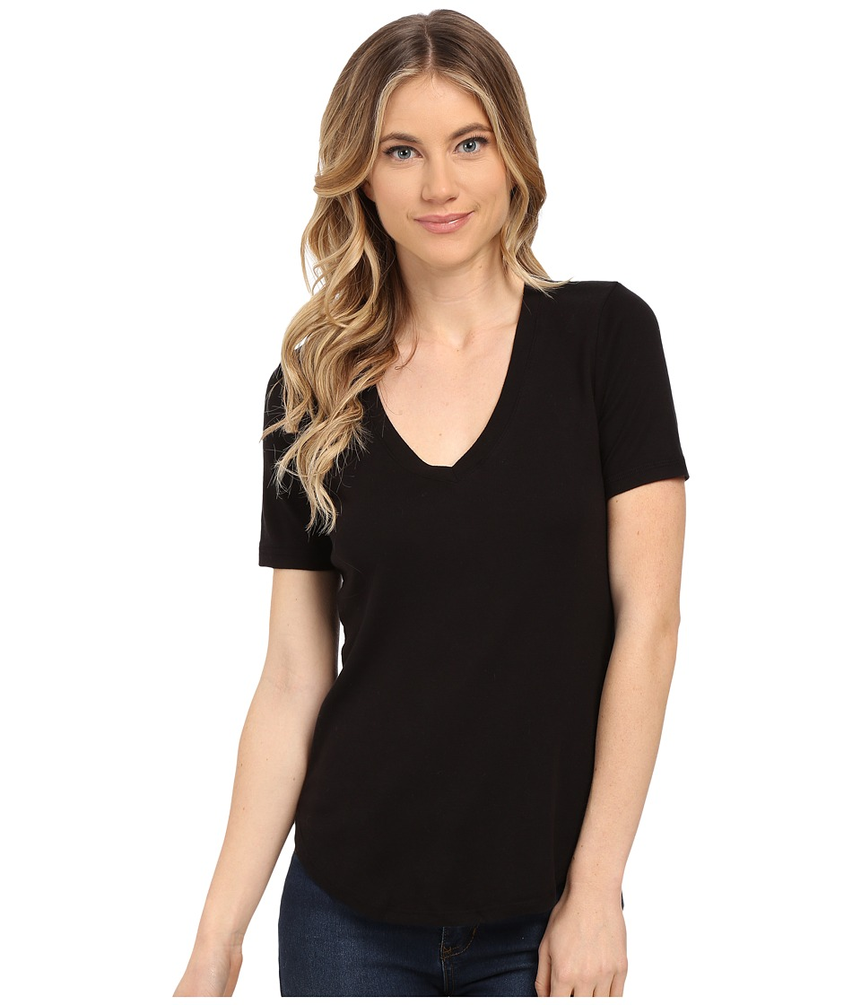 Splendid - 1X1 V-Neck Tee (Black) Women's T Shirt