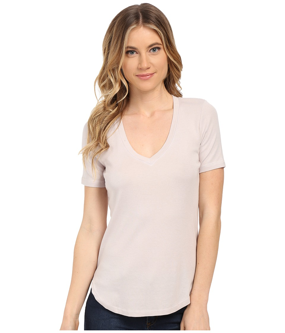 Splendid 1X1 V-Neck Tee (White Sand) Women