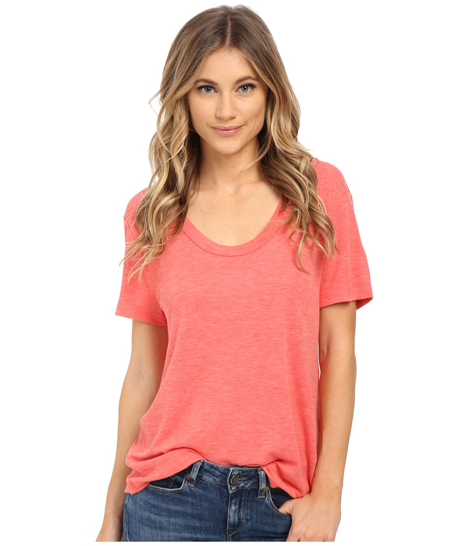 Splendid - Alcove Double Face Jersey Tee (Coral Pink) Women