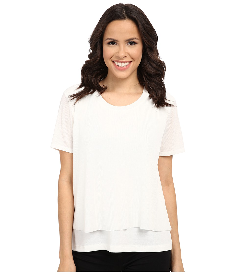 Splendid - Cozy Jersey with Feather Rib Tee (Soft White) Women