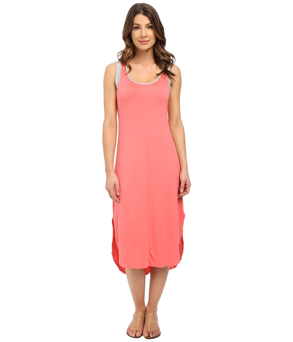 Splendid - Jersey Midi Dress (Coral Pink/Heather Grey) Women's Dress