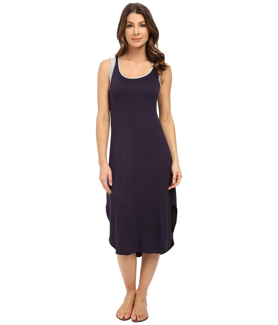 Splendid - Jersey Midi Dress (Navy/Heather Grey) Women's Dress
