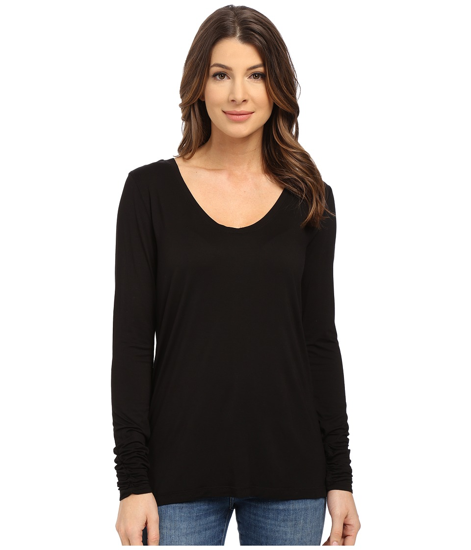 Splendid - Rayon Jersey Long Sleeve Scoop Neck (Black) Women's Clothing