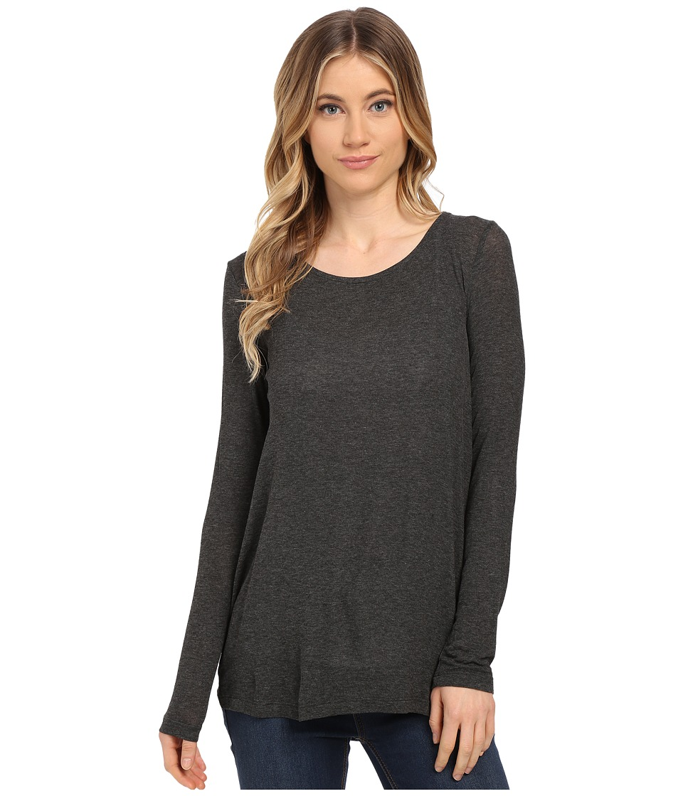 Splendid - Drapey Lux Pleat Back Long Sleeve (Charcoal) Women's T Shirt