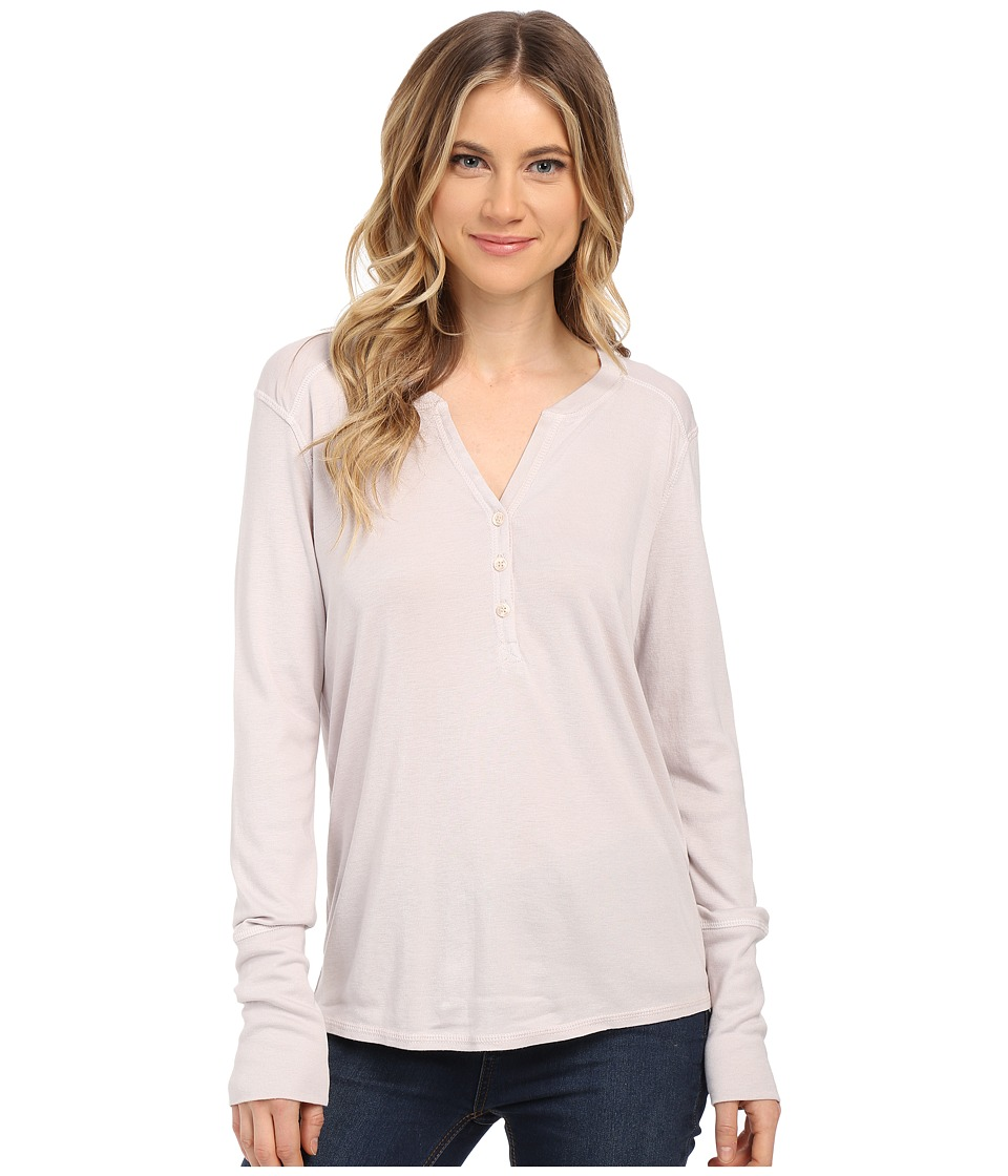 Splendid - 1X1 Long Sleeve Henley (White Sand) Women's T Shirt