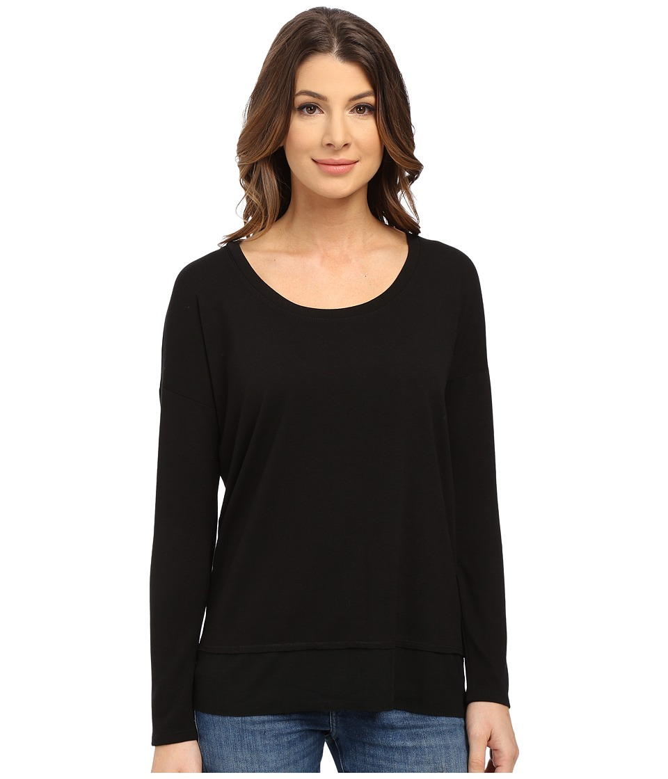 Splendid - Cozy Jersey with Feather Rib Long Sleeve (Black) Women's Clothing