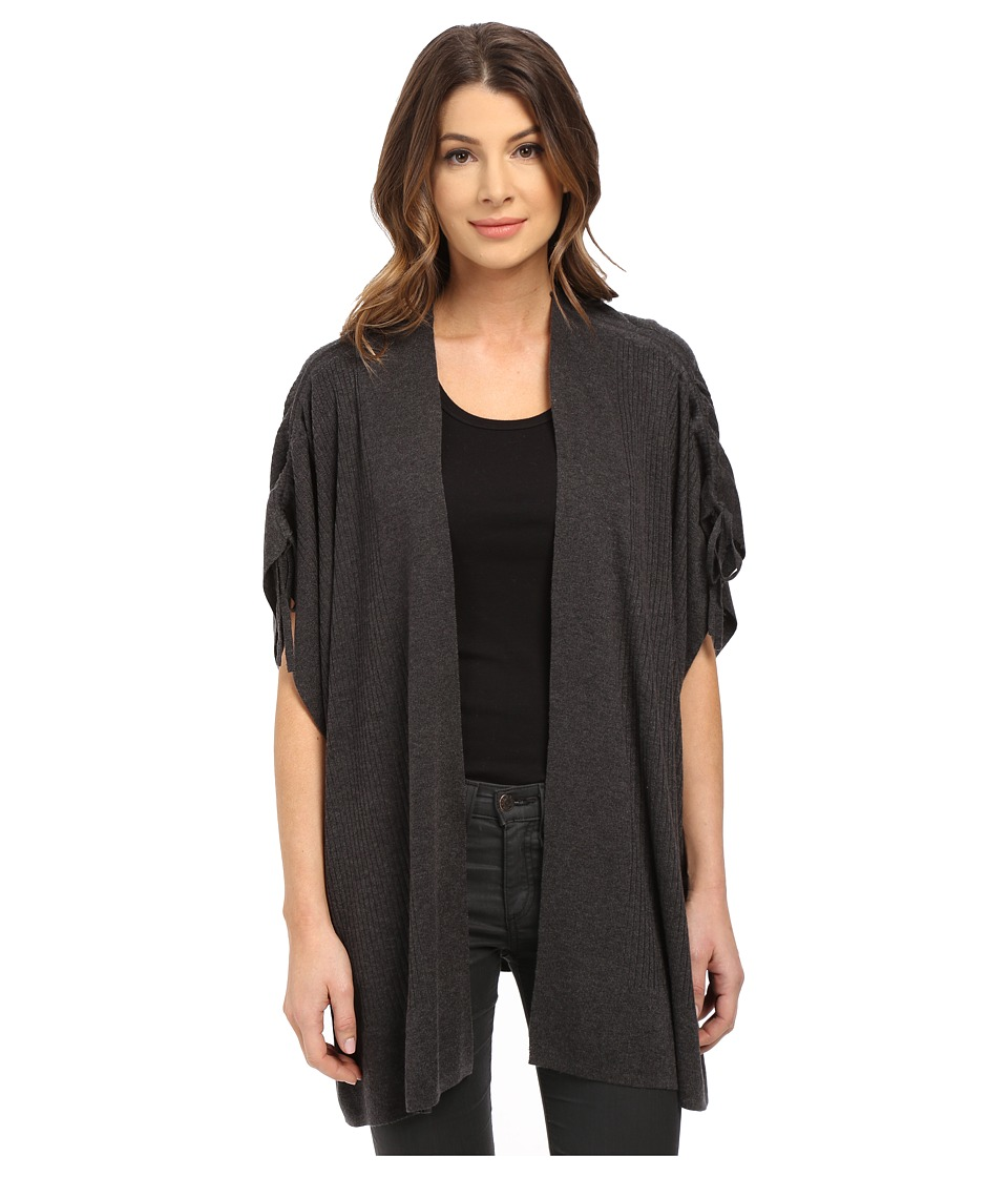 Splendid - Cashmere Blend Shoulder Tie Cardigan (Heather Charcoal) Women's Sweater
