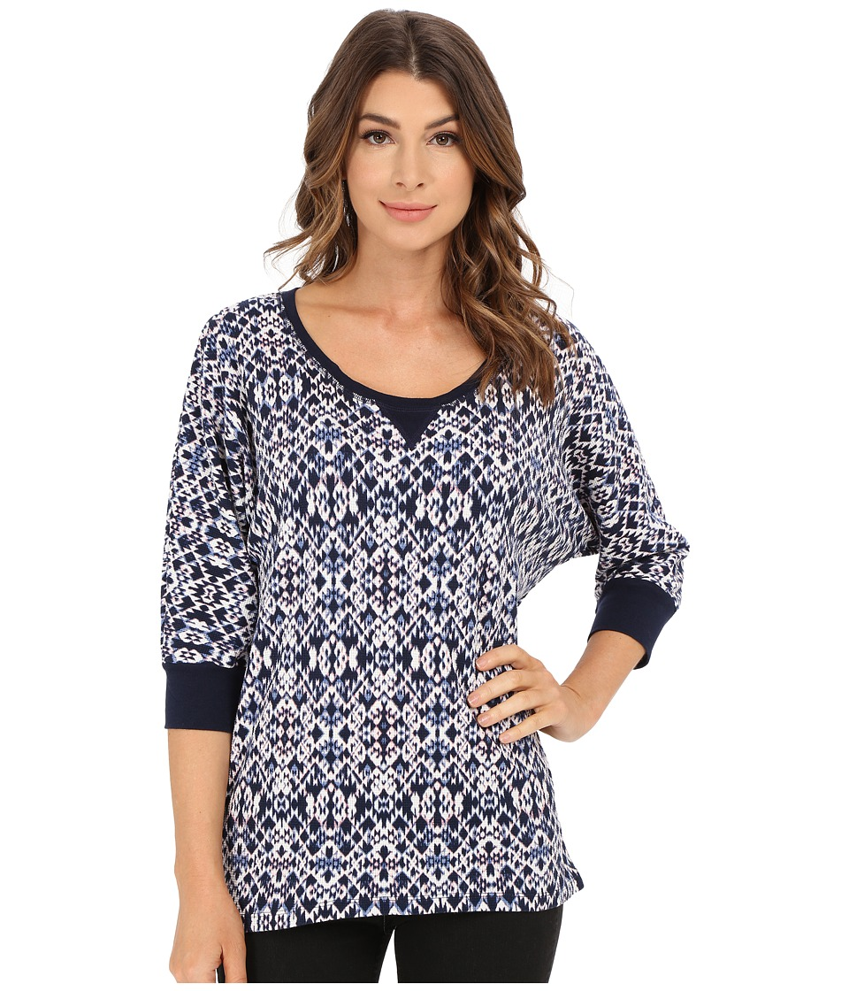 Splendid - Ikat Print Thermal Dolman (Navy Multi) Women's Clothing