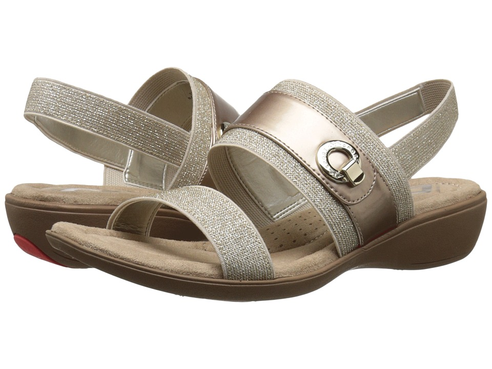 Anne Klein - Hida (Light Taupe/Light Pink Fabric) Women's Sandals