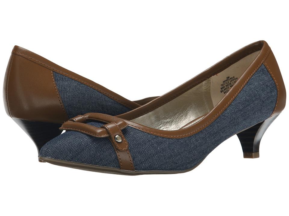 Anne Klein - Melanie (Medium Blue/Cognac Fabric) Women's 1-2 inch heel Shoes