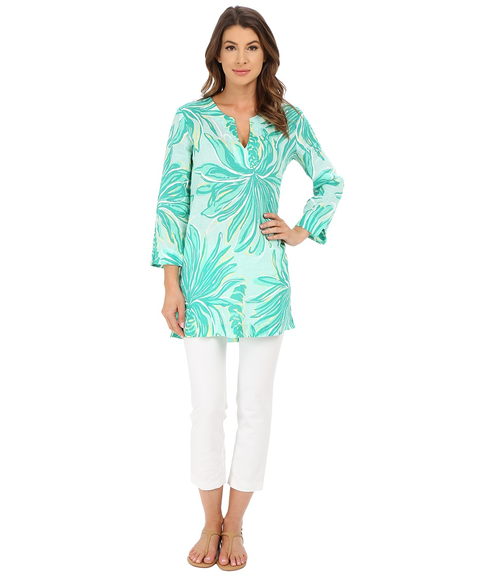 Lilly Pulitzer - Marco Island Tunic (Poolside Blue Tiger Palm) Women's Blouse