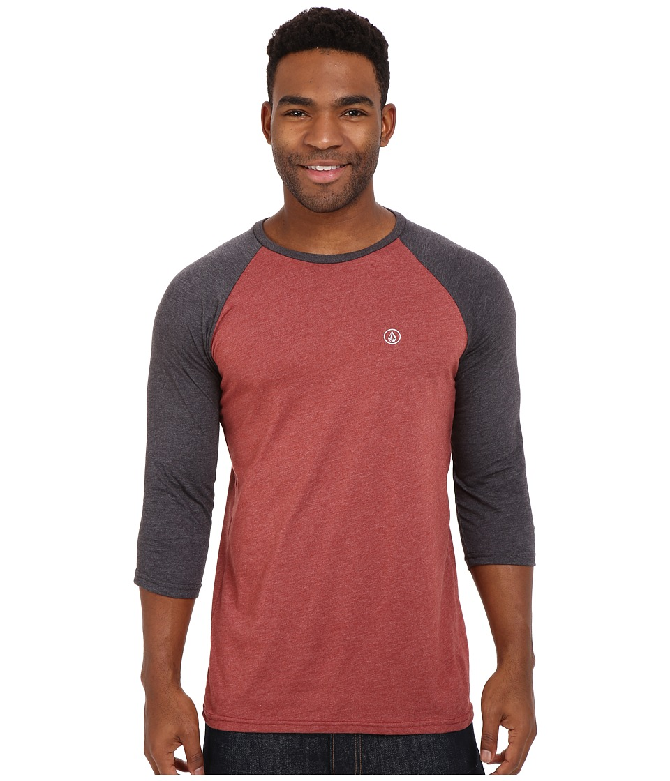 Volcom - Heather 3/4 Raglan (Port Heather) Men's Long Sleeve Pullover