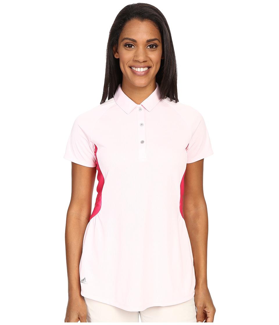 adidas Golf - Tour Climachill Peplum Polo (Blushing Pink) Women's Short Sleeve Button Up