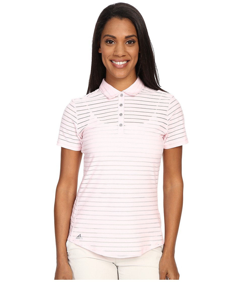 adidas Golf - Cottonhand Stripe Polo (Blushing Pink/Blush Pink Heather) Women's Short Sleeve Button Up