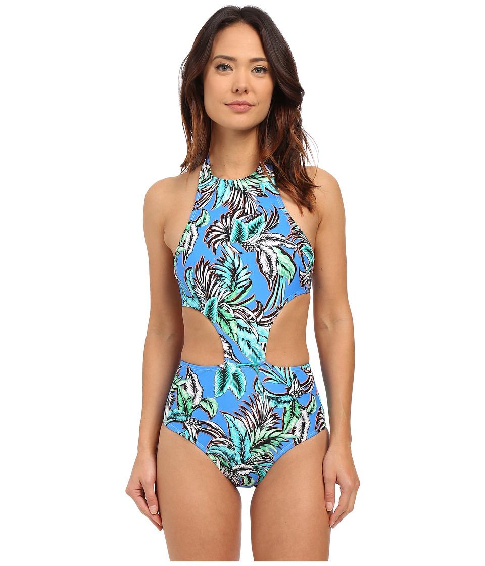 Shoshanna - Tropical Palms Sporty Monokini (Blue Multi) Women's Swimsuits One Piece