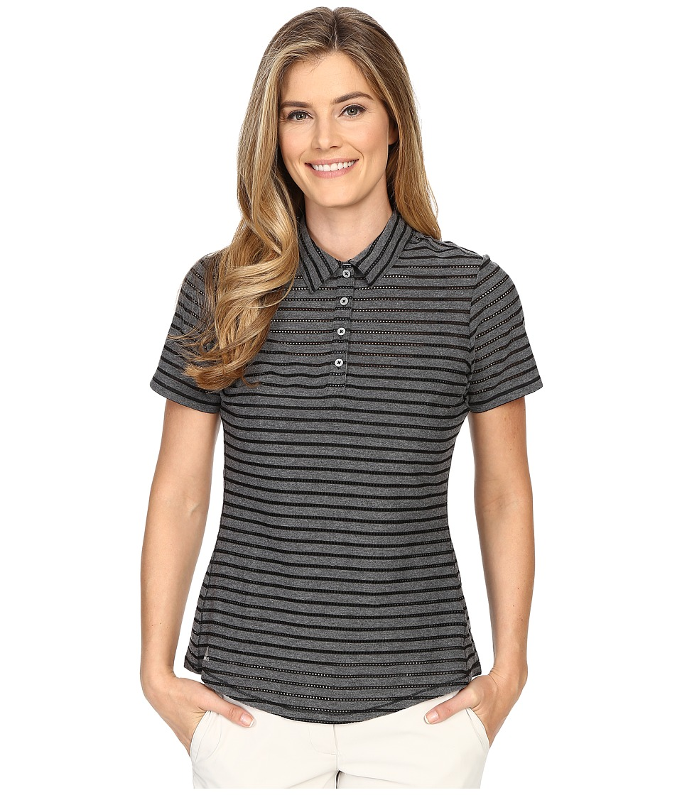 adidas Golf - Cottonhand Stripe Polo (Black/Black Heather) Women's Short Sleeve Button Up