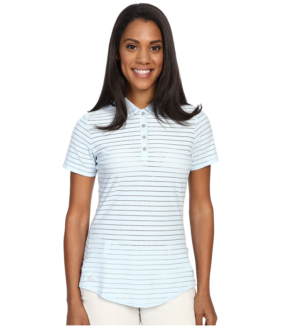 adidas Golf - Cottonhand Stripe Polo (Soft Blue/Soft Blue Heather) Women's Short Sleeve Button Up
