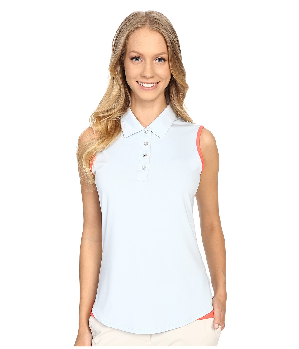 adidas Golf - Essentials 3-Stripe Sleeve Polo (Soft Blue/Sunset Coral) Women's Short Sleeve Button Up