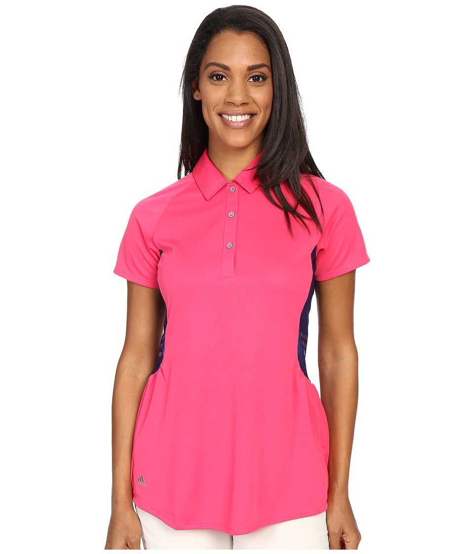 adidas Golf - Tour Climachill Peplum Polo (Raspberry Rose) Women's Short Sleeve Button Up