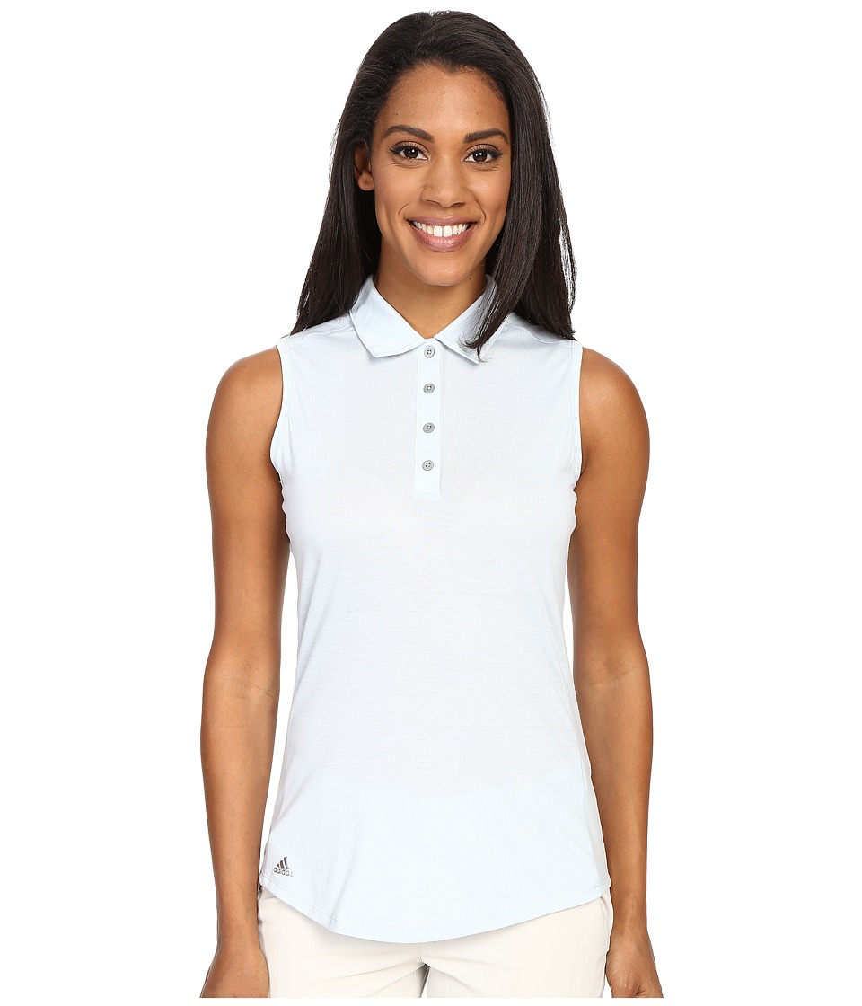 adidas Golf - Essentials Heather Sleeveless Polo (Soft Blue) Women's Sleeveless