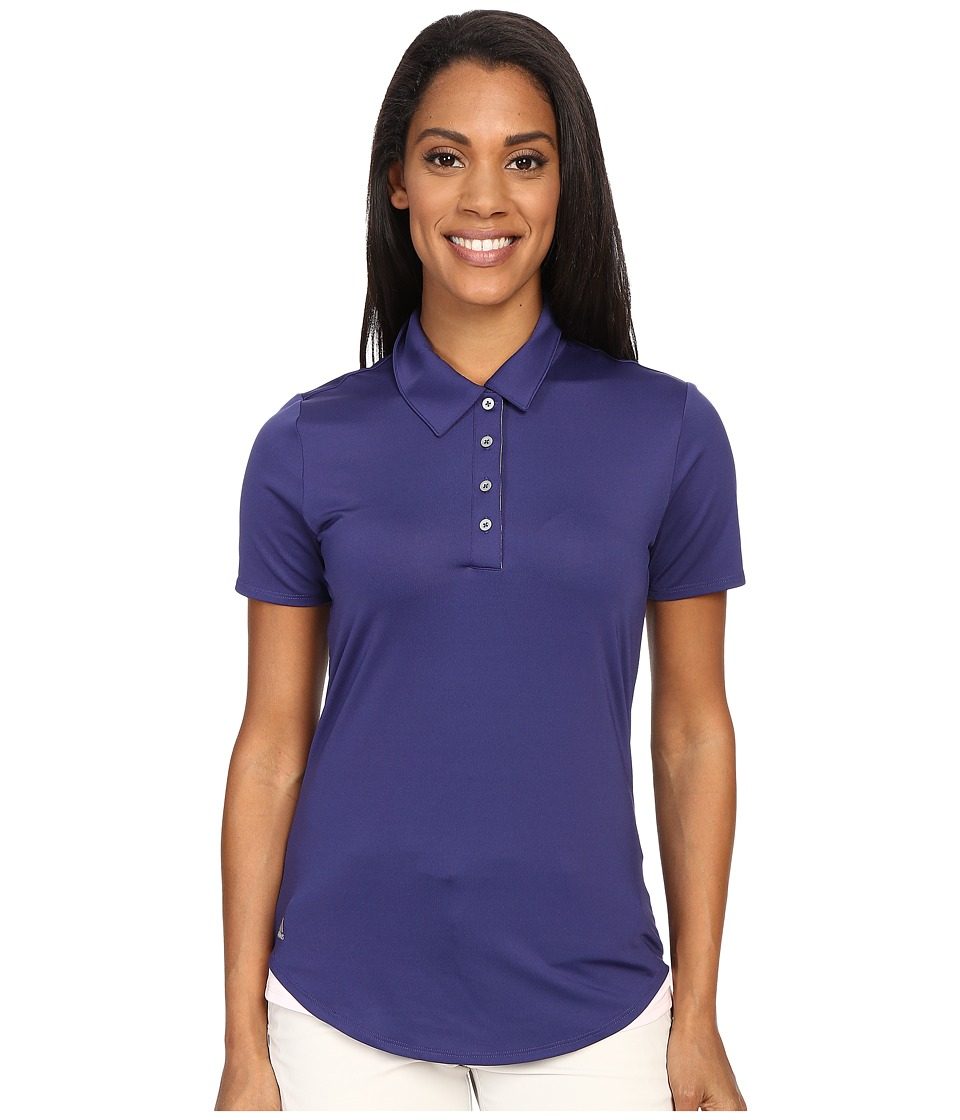 adidas Golf - Essentials 3-Stripe Short Sleeve Polo (Deep Blue/Blushing Pink) Women's Short Sleeve Button Up