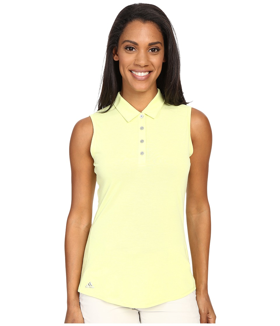 adidas Golf - Essentials Heather Sleeveless Polo (Sunny Lime Heather) Women's Sleeveless