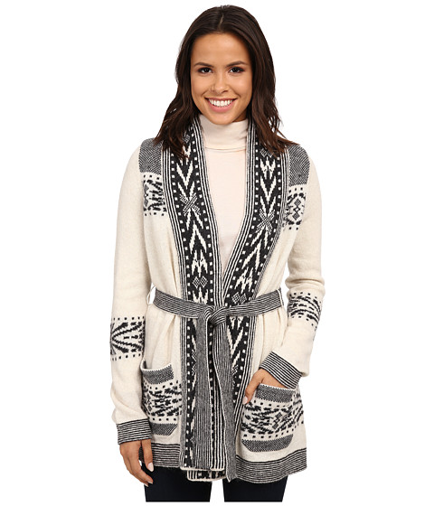 Pendleton - Lodge Stripe Cardigan (Ivory Heather/Charcoal Heather) Women's Sweater