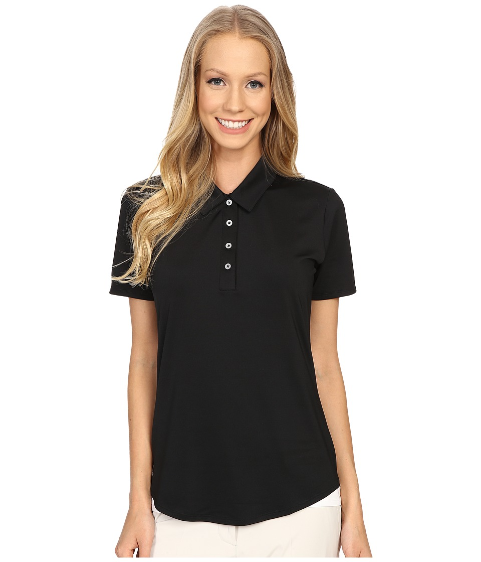 adidas Golf - Essentials 3-Stripe Short Sleeve Polo (Black/White) Women's Short Sleeve Button Up
