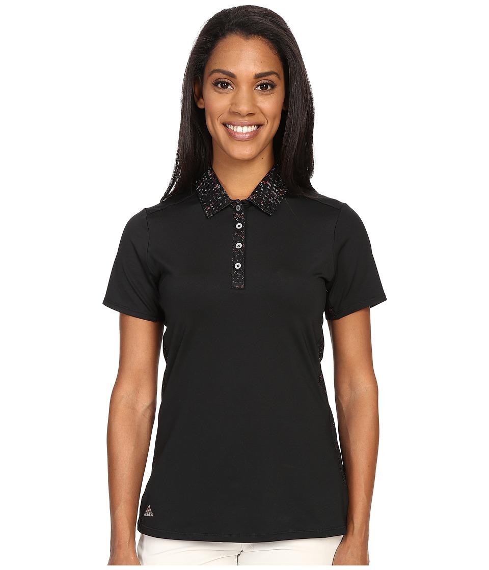 adidas Golf - Essentials Sport Mesh Print Polo (Black) Women's Short Sleeve Pullover