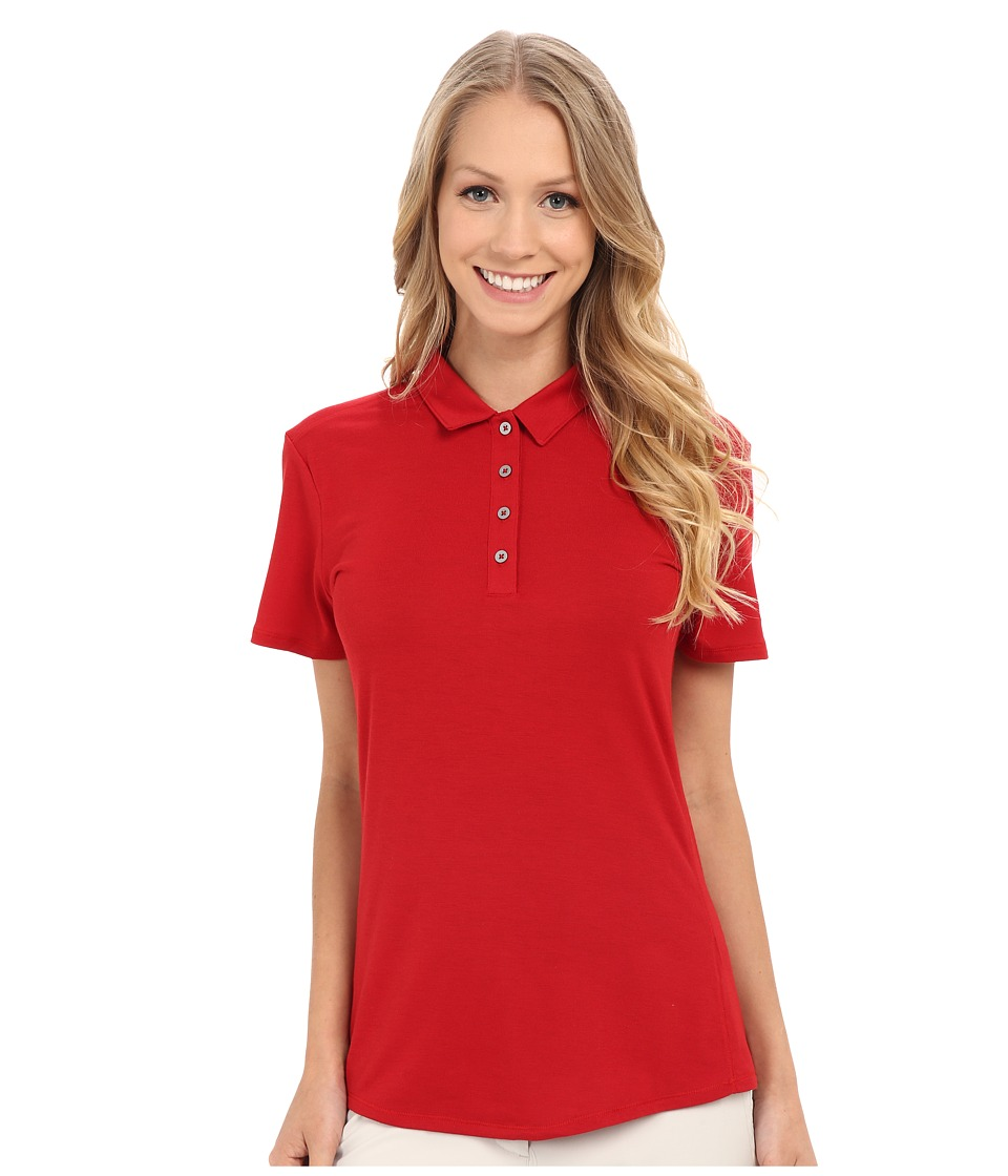 adidas Golf - Essentials Heather Short Sleeve Polo (Power Red) Women's Short Sleeve Knit