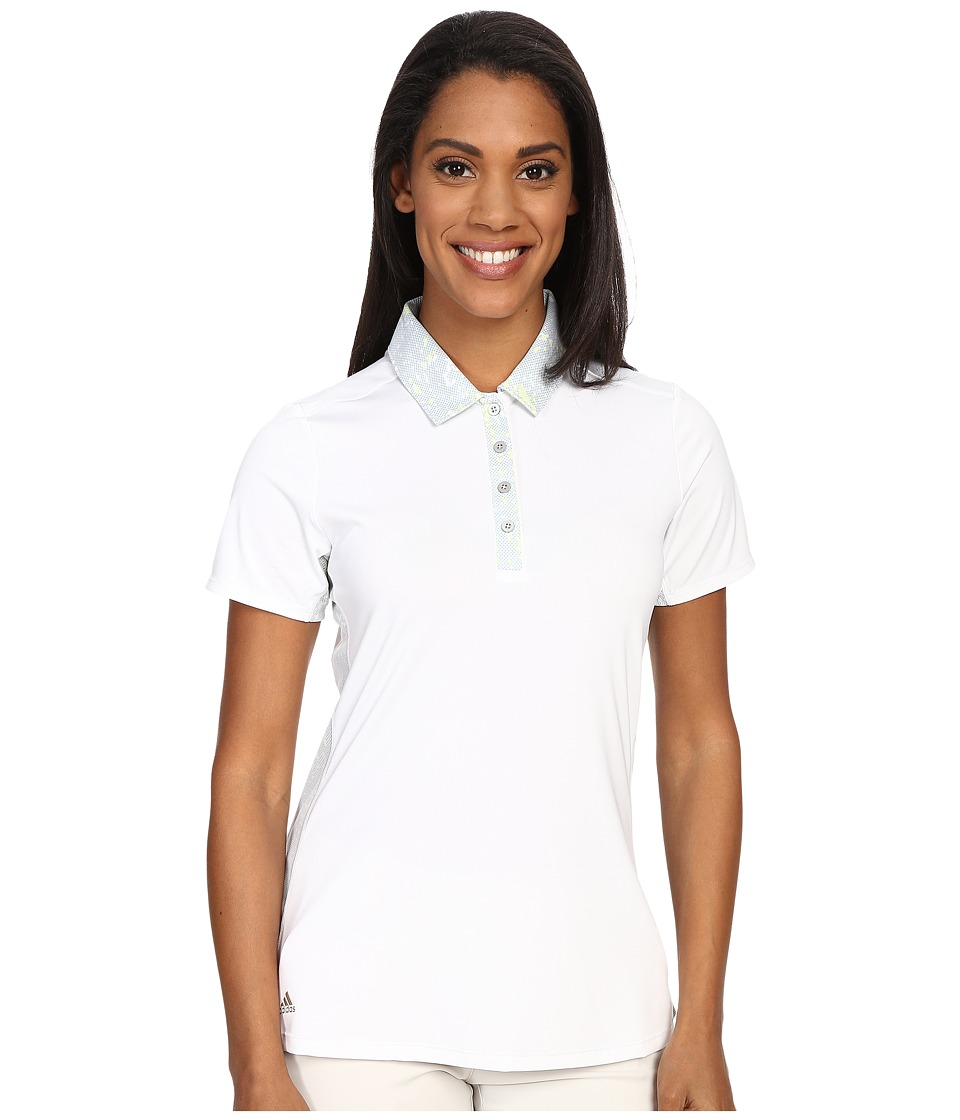 adidas Golf - Essentials Sport Mesh Print Polo (White) Women's Short Sleeve Pullover