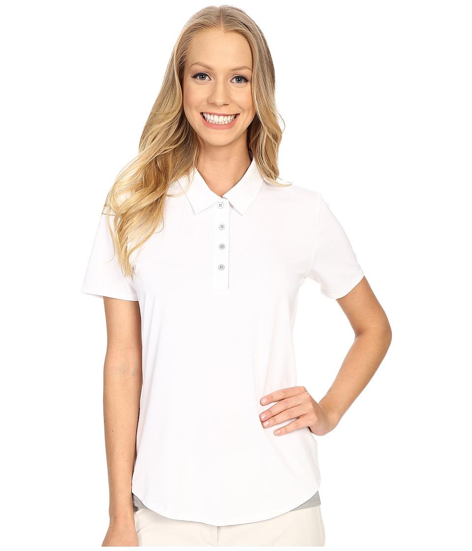 adidas Golf - Essentials 3-Stripe Short Sleeve Polo (White/Medium Grey Heather) Women's Short Sleeve Button Up