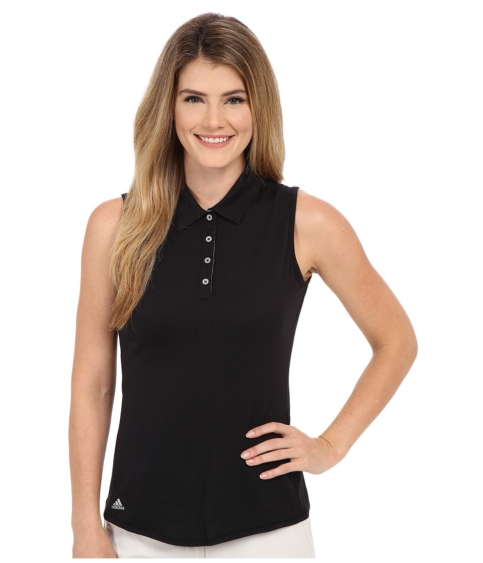 adidas Golf - Essentials Heather Sleeveless Polo (Black) Women's Sleeveless