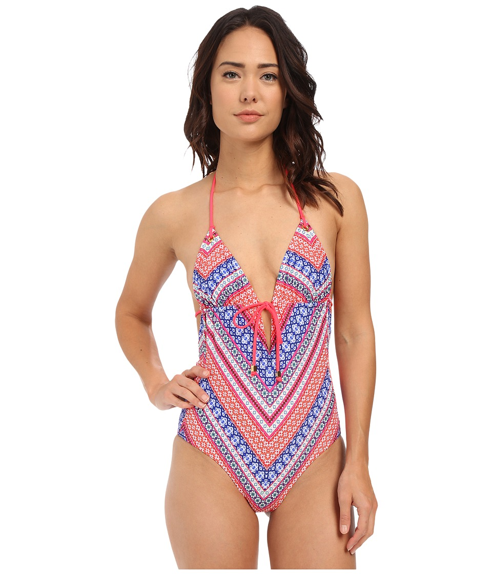 Shoshanna - Chevron Tapestry Grommet Tie Front Maillot One-Piece (Fuchsia Multi) Women's Swimsuits One Piece