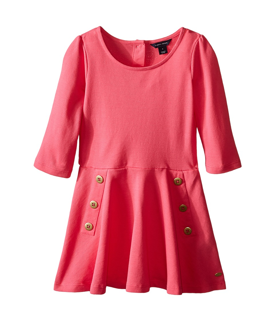 Tommy Hilfiger Kids - Pique Long Sleeve Dress (Little Kid) (Spris Pink) Girl
