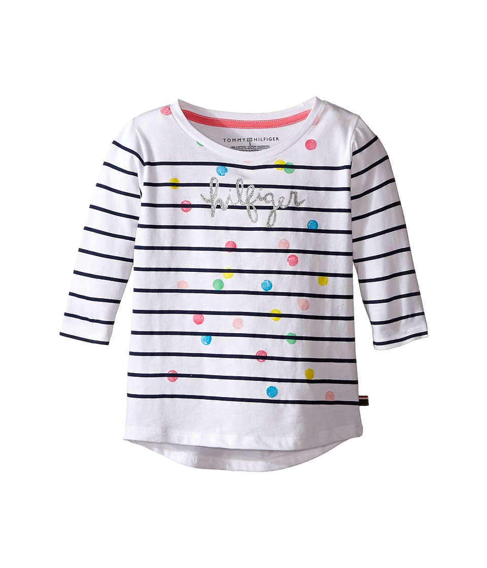 Tommy Hilfiger Kids - Stripe Hilfiger Long Sleeve Top (Little Kid) (White) Girl's T Shirt