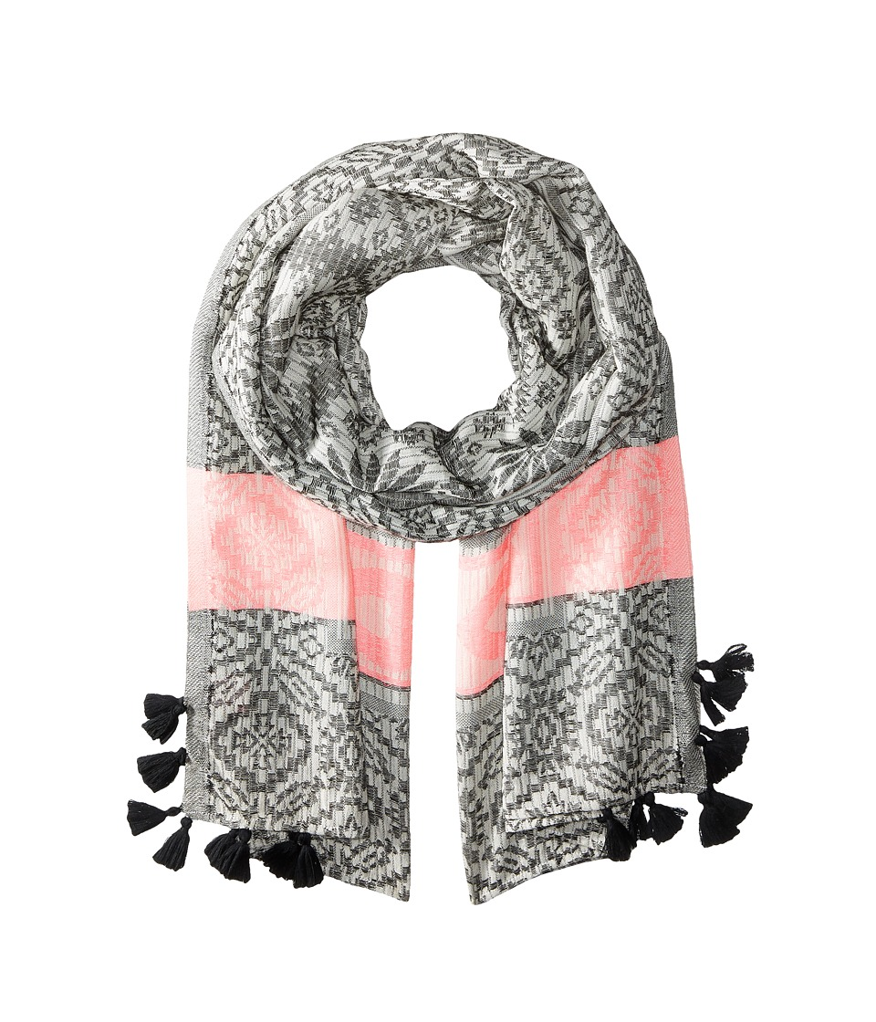 Betsey Johnson - Heart Jaquard Blanket Wrap (Black) Scarves