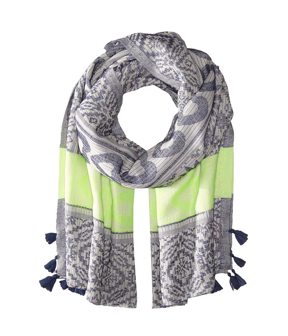 Betsey Johnson - Heart Jaquard Blanket Wrap (Navy) Scarves