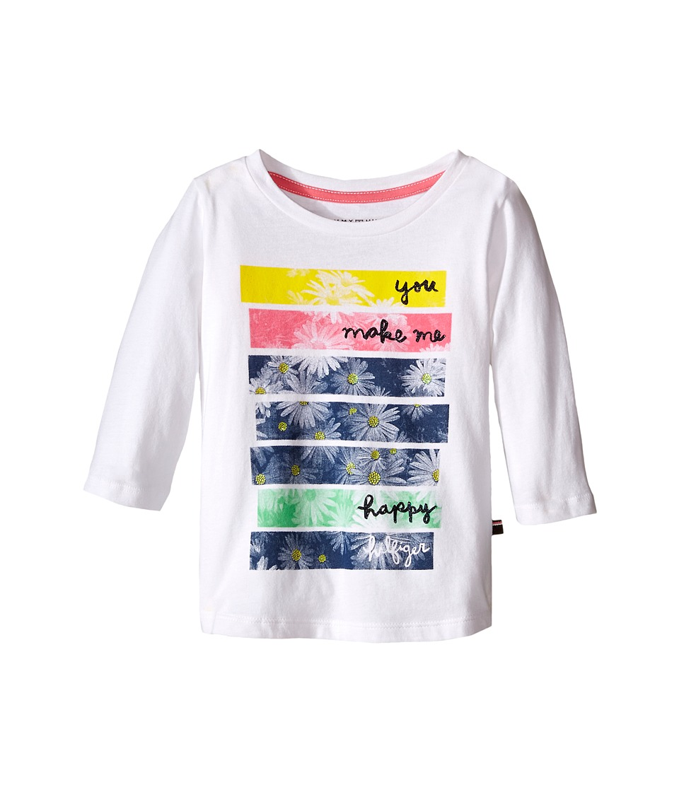Tommy Hilfiger Kids - Printed 3/4 Sleeve Top (Little Kid) (White) Girl's T Shirt