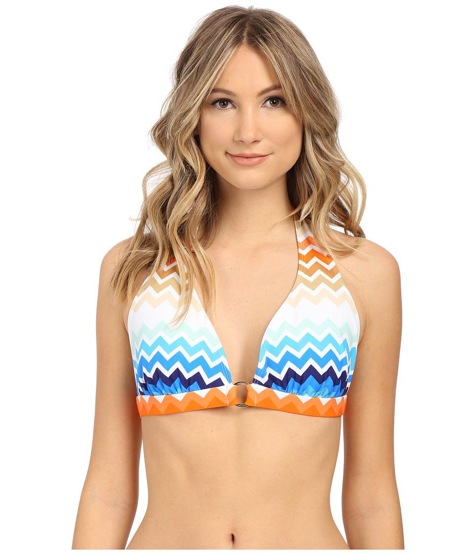 Shoshanna - Laguna Ring Halter Top (Blue Multi) Women's Swimwear