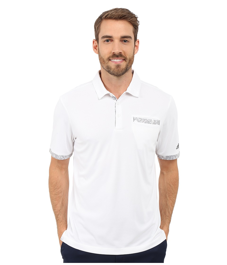 adidas Golf - CLIMACHILL Camo Pocket Polo (White/Back) Men's Short Sleeve Knit