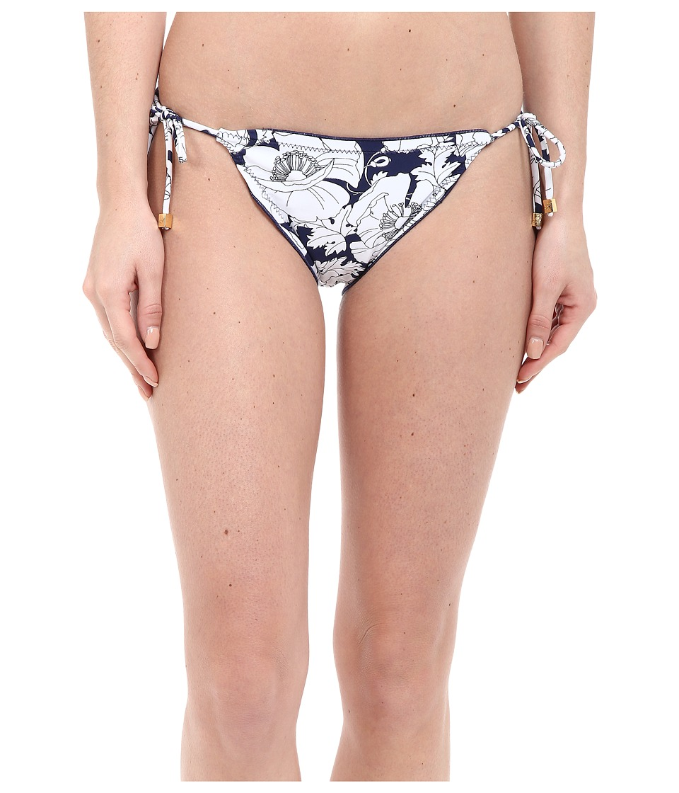 Shoshanna Hand Drawn Poppies Lettuce String Bottoms (Navy/White) Women