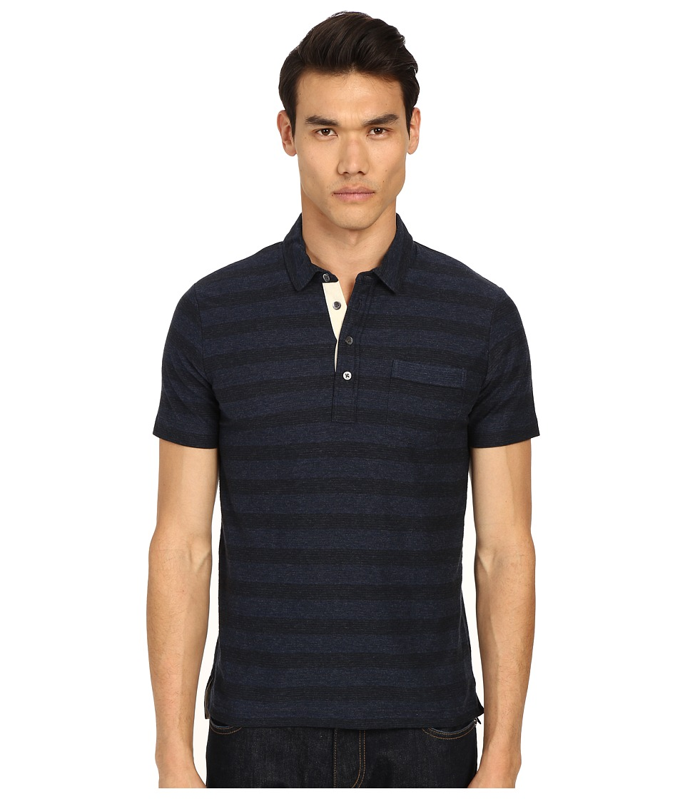 Billy Reid - Pensacola Striped Polo Shirt (Blue/Black) Men's Short Sleeve Pullover