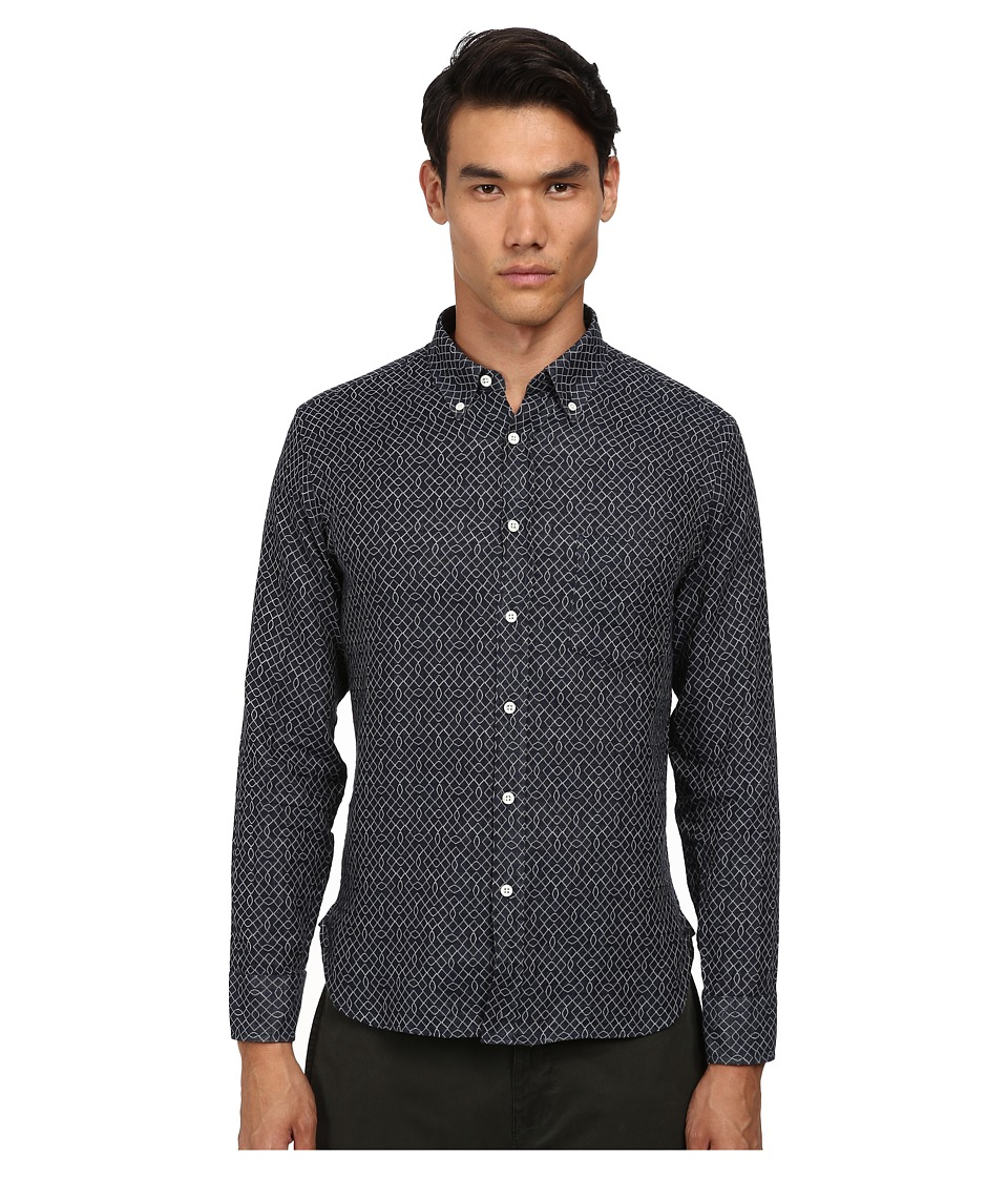 Billy Reid - Rosedale Top (Navy) Men's Short Sleeve Button Up