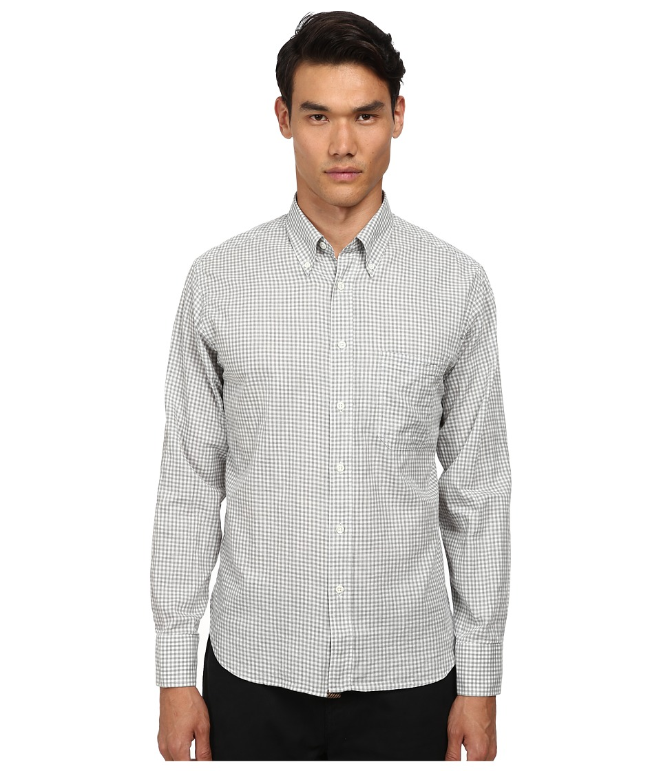 Billy Reid - Tuscumbia Button Down Top (Natural/Grey) Men's Short Sleeve Button Up