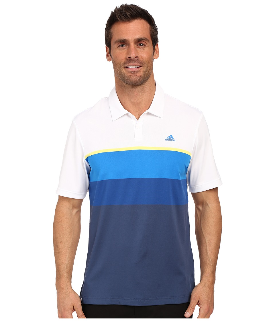 adidas Golf - CLIMACOOL Engineered Stripe Polo (White/Light Yellow/EQT Blue) Men's Short Sleeve Pullover