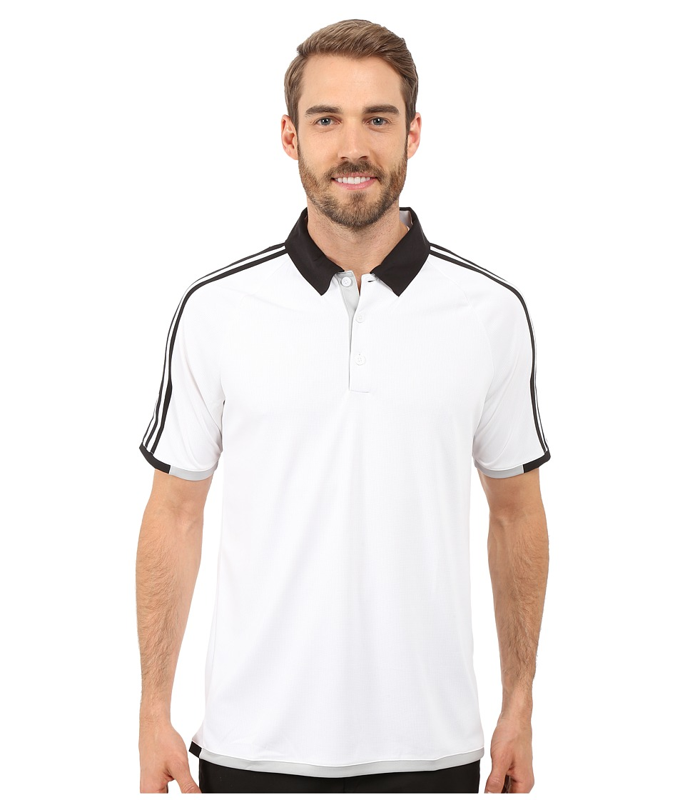 adidas Golf - CLIMACHILL 3-Stripes Competition Polo (White/Black) Men's Clothing
